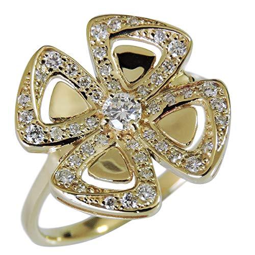 真珠の杜 ダイヤモンド K18イエローゴールド フラワー 花 リボン クローバー モチーフ 可愛い diamond ダイヤ flower 四つ葉 リング レディース 12.5号