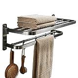 BESy Premium SUS 304 Stainless Steel Towel Racks for Bathroom, Foldable Bathroom Shelf with Towel Bar Rod Hooks, Multifunction Double Towel Bars Hotel Style, Screw Wall Mount, Brushed Nickel, 22 Inch