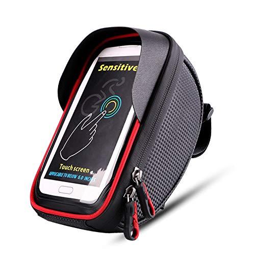 AOSNTEK 6 Zoll Fahrradtasche Spritzwassergeschützt Touchscreen Handytasche Frontbalken Lenkertasche Geeignet für Radfahren Rot