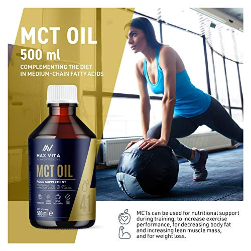 MCT Oil 100% Pure C8 C10 Oil 500ml, Boosts Ketones, Premium Energy Source with no Carbs, Great for Bulletproof Coffee, Shakes or Salad, Perfect for Keto and Paleo Diet, Vegetarian Friendly