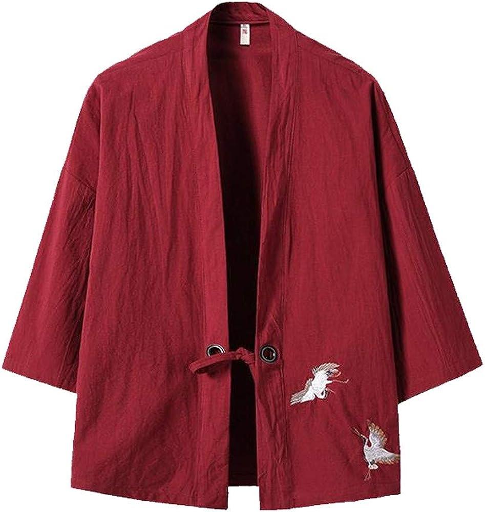Mens Kimono Cardigan, F_Gotal Men's Vintage Baggy Cotton Linen Solid Color Half Sleeve Retro T Shirts Tops and Blouse