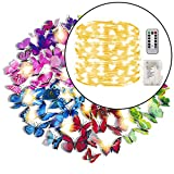 84 Pcs 3D Colorful Butterfly Wall Stickers with 100 LED (32ft) String Light DIY Art Decor Crafts for Party Nursery Bedroom Living Room Set