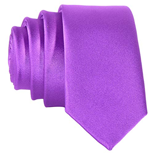 DonDon schmale Krawatte 5 cm - lila glänzend