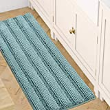 Bath Rugs for Bathroom Washable Non Slip Extra Thick Chenille Striped Bath Mat Rug Runners 47' x 17' Absorbent Fluffy Soft Shaggy Mats Dry Fast Plush Area Carpet for Bath Room, Tub - Eggshell Blue