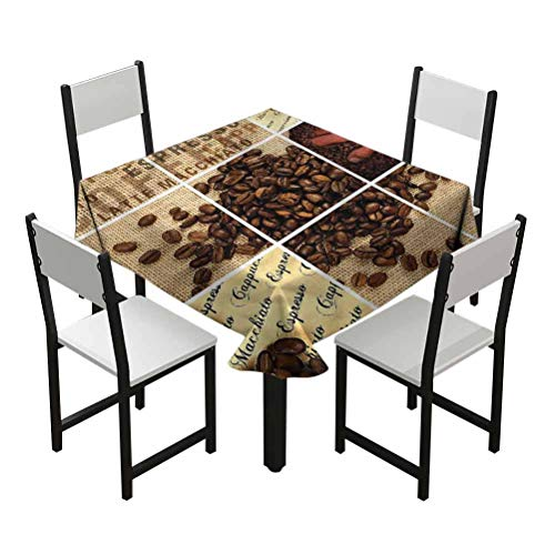 Flyerer Brown Small Table Cloths squareStain Resistant and Spillproof Suitable for banquets, Parties Coffee Beans Heart Shapes Best Gifts Under 30 W60 xL60