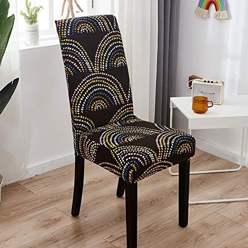 Universal Stretch Stuhlhussen 2er Set Esszimmerstühle Elastischer Stuhlbezug, Abnehmbare Dekoration Stuhlabdeckung für Bankett Deko und Hochzeit Partys ( Black Dot Fan, 2er )