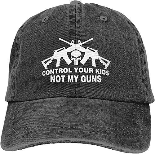 Control Your Kids Not My Guns Unisex Soft Casquette Cap Fashion Hat Vintage Adjustable Baseball Caps Fashion Black