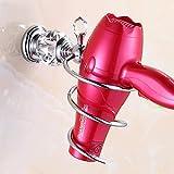 SEESEE.U - Soporte para secador de pelo, soporte para secador de pelo, soporte de pared de latón envejecido para baño, soporte de pared para secador de pelo, soporte en espiral, color dorado