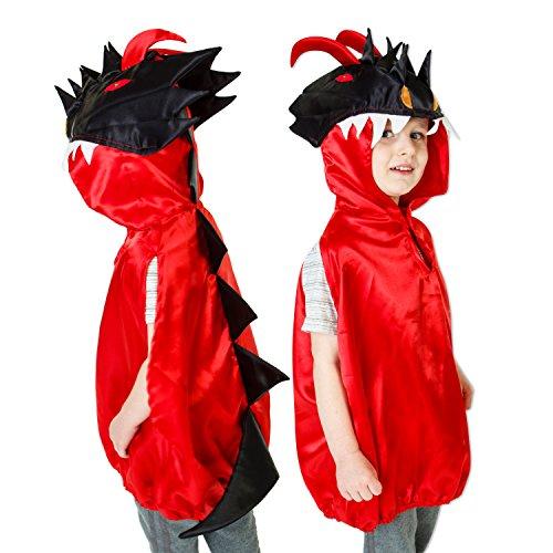 Slimy Toad - Déguisement dragon luxe pour enfants - Costume dragon rouge et noir pour enfant (3-8 ans)