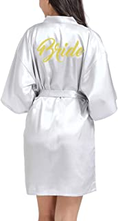 Lovacely Women's Satin Kimono Short Robe for Bride Wedding Party Getting Ready Robes with Gold Glitter Dressing Gown