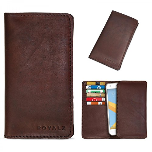 ROYALZ Lederhülle für HTC One A9S | A9 Ledertasche Tasche Cover Etui Schutztasche Schutzhülle Sleeve Leder braun