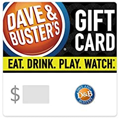 Dave & Buster's is the 1 & only place to have it all- great food, cool drinks, and 100's of games. The new mix of fun. Redeemable at Dave & Buster's locations nationwide No returns and no refunds on gift cards.