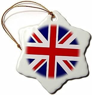 Promini British Flag Red White Blue Union Jack Great Britain United Kingdom Snowflake Porcelain Ceramic Ornament, 3 Inch