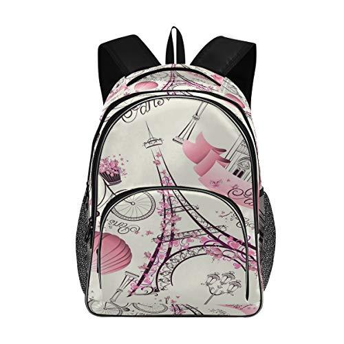 ISAOA - Bolsas escolares para adolescentes y niñas, estudiantes universitarios, diseño floral rosa, Torre Eiffel de París blanco, mochila de viaje con puerto de carga USB