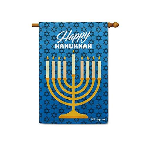 KafePross Happy Hanukkah Winter Holiday Menorah Decorative House Flag Religious Decor Banner Indoor Outdoor 28'x40' Double Sided
