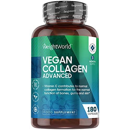Colágeno Vegano 180 Cápsulas | Suplemento Con Resveratrol, Vitamina C, Zinc, Ácido Hialurónico y Vitamina E, Para Piel, Cartílago, Huesos y Articulaciones, Origen Vegetal Suministro 3 Meses
