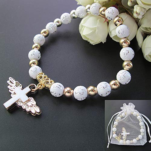 12 Pcs Angel Wing Cross Bracelet Favor for Boy and Girl - Baptism Favor / Christening Favor / Bautizo Recuerdos
