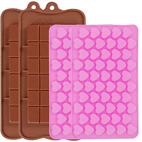 JEZOMONY Moldes de Silicona para Chocolate Moldes gomosos, Forma de Mini corazón y bandejas de Cubitos de Hielo Desechables Jello, moldes antiadherentes de Silicona de Calidad alimentaria - 4PC