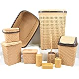 GEEZY 10 Pieces Plastic Rattan Bathroom/Kitchen Home Furniture Set Bath Toiletries Storage Rack Organizer (Beige)