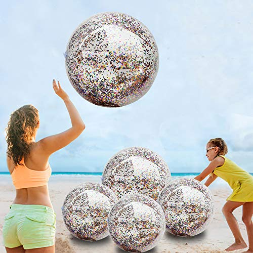 """5 Pack Sequin Beach Ball Jumbo Pool Toys Balls Giant Confetti Glitter Inflatable Clear Beach Ball Swimming Pool Water Beach Toys Outdoor Summer Party Favors for Kids Adults (24""""-2 Pieces,16""""-3 Pieces)"""