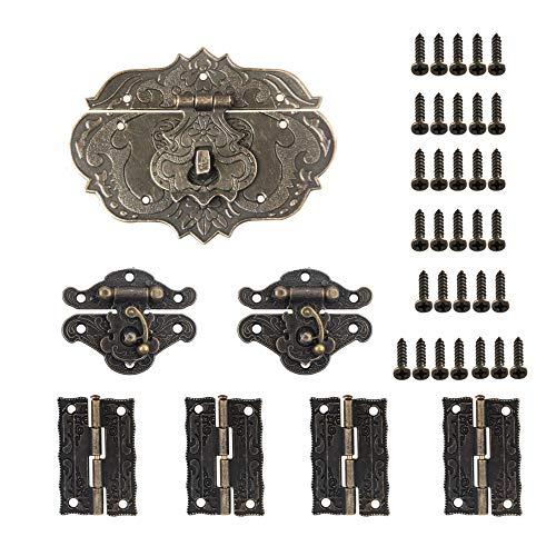 Aweisile Antiguo Latch Hasp 7 Piezas Bisagras Plegables Retro Bisagras Pestillo de Estilo Antiguo con 33 tornillos para cajas de madera Caja vintage Gabinete antiguo y otros etc