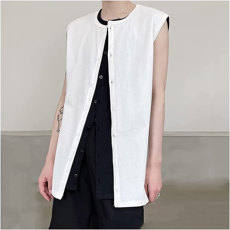 FENXIXI Men Summer Large Loose Sleeveless Cardigan Round-Necked Row Button-Down Solid-Color Tank Top (Color : White, Size : XXXL Code)
