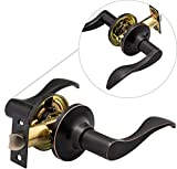 Berlin Modisch Passage Lever Door Handle [Non-Locking Lever Set] for Hallway Doors or Closets with a Oil Rubbed Bronze Finish, Reversible for Right & Left Side, with a Door Bumper Wall Protector