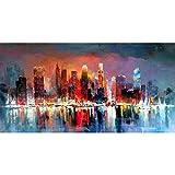 Pintura Al Óleo Pintada A Mano Sobre Lienzo, Pinturas De Paisajes Abstractos Modernos, Colores Brillantes De Los Edificios De La Ciudad De Noche Seascape , Gran Pared Decoración Artística Para Casa