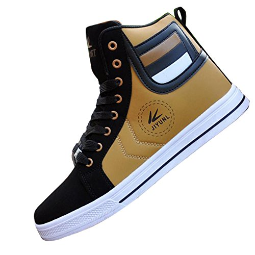 Gaorui Lot Fashion Men Casual Shoe High Top Sport Outdoor Athletic Running Sneaker Boot Gold