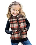 Girls Buffalo Cotton Plaid Winter Quilted Vest Zip Up Cute Fall Puff Lined Gilet 3-8 Years Orange