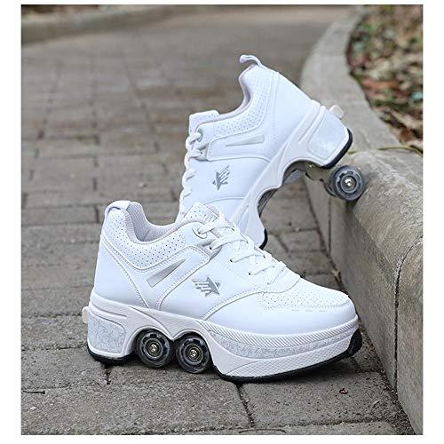 HANHJ Kick Roller Shoes Zapatos De Rodillos Skate Shoes para Mujeres Hombres, Niños Zapatos De Ruedas para Niños Zapatillas De Deporte De Rodillos, para Unisex para Principiantes Regalo,White-41