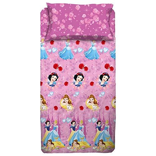 Disney Juego de sábanas para Cama de una Plaza, diseño de Princesas