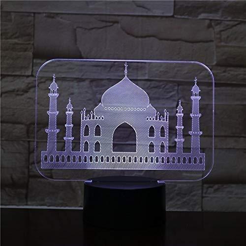 Noche LED 3D USB Luz India Taj Mahal luz atmosférica RGB niños Baby Gift famoso edificio de la tabla de la lámpara de neón