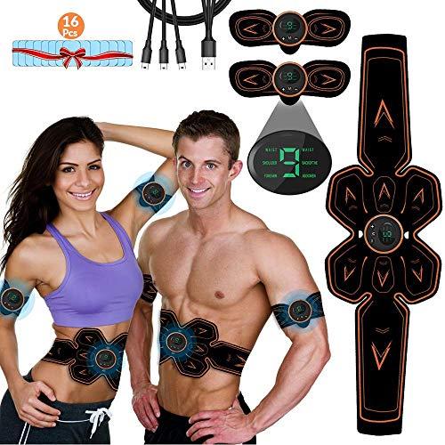 iThrough Elettrostimolatore Muscolare ABS, EMS Stimolatore Muscolare, Elettrostimolatore per Addominali USB Ricaricabile per Uomo e Donna Addome Braccio Vita Gambe , 16PCS Gel Pezzi