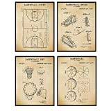 Basketball Patent Prints - Cool Unique Gift or Home Decor for Kobe Bryant, Michael Jordan, Lebron James, LA Lakers Fan, Boys Room, Kids or Teens Bedroom, Office, Den - 8x10 Wall Art Posters Set
