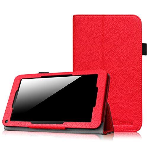 Fintie Hülle Hülle für Odys Mira 17,8 cm (7 Zoll) X610102 / LENOTAB Win/Trimeo Win 17,8 cm (7 Zoll) Tablet-PC - Slim Fit Folio Kunstleder Schutzhülle Cover Tasche mit Ständerfunktion, Rot