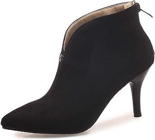 ea19beda2ef419 OALEEN Bottiness Femme Vintage Talon Aiguille Effet Daim Chaussures Boots  Pointu Hiver