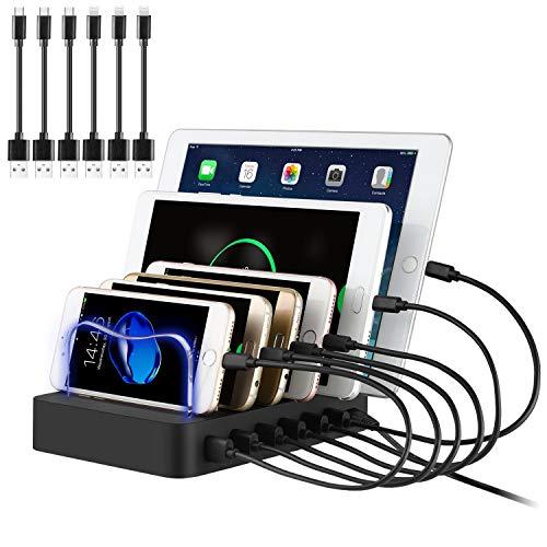 PRITEK USB Ladestation für Mehrere Geräte 6 Port USB Multi Ladestation Handy USB Ladegerät Dockingstation für Mobiltelefon Tablet MP4 und andere USB-fähige Geräte 6 Kurze Kabel Inkl. (Schwarz)