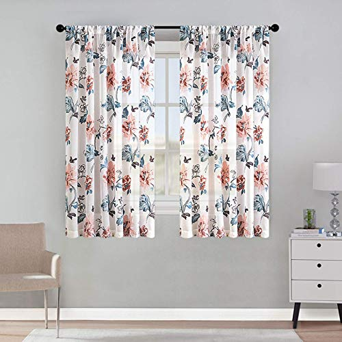 MRTREES Short Sheer Curtains Flower Leaf Printed Kitchen Window Curtain Sheers 45 inches Long Basement Peach Red Floral Print Voile Curtain Panels Rod Pocket Drapes Window Treatment Set 2 Panels