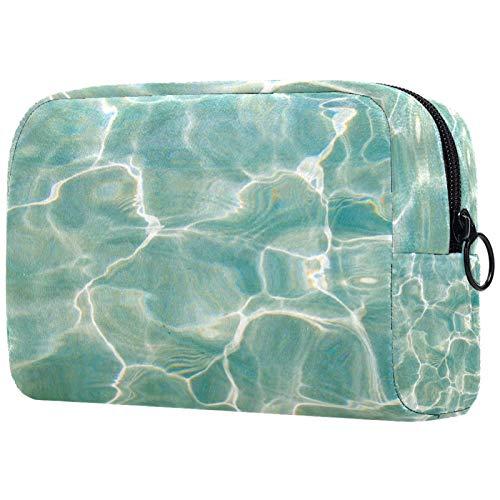 Bolsa de maquillaje para mujer, bolsa organizadora de cosméticos, bolsa de aseo con cremallera de 19 x 7 x 12 cm, patrón azul agua