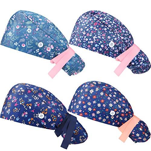 4 Piezas Gorras de Cola de Caballo de Pelo Largo con Botón y Banda de Sudor Gorras con Lazo en Espalda con Estampadas para Mujer Hombre