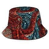 GodYo Bucket Hat Packable Reversible Red Octopus Print Sun Hat Fisherman Hat Cap Camping al Aire Libre