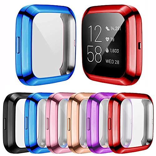 [6-Pack] Screen Protector Case Compatible with Fitbit Versa 2 Smartwatch, All-Around TPU Plated Protective Cover Scratch Resistant Bumper Shell Accessories (6 Colors, Versa 2)