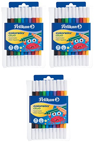 3er Pack Pelikan, 10 Fasermaler Colorella Duo