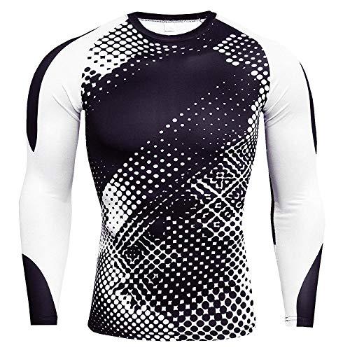 rgbh Hombre Compresión Camisa Base Layers Tops Manga Larga Shirt for Fitness Gym Workout Running Cycling 6-3X-Large