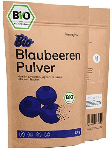 veganflow® Wild Heidelbeeren Pulver Bio 100g, gefriergetrocknetes Blaubeeren Pulver, 100% ohne Zuckerzusatz, für Smoothies, Frucht-Pulver für die Bowl, vegan