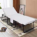 mecor Adjustable Folding Bed Ottoman, Rollaway Guest Bed with Adjustable Head Incline ( 0°-175°), Removable Mattress & Side Pocket - Heavy Duty Portable Metal Frame - Twin Size ( 78' L x 31' W )