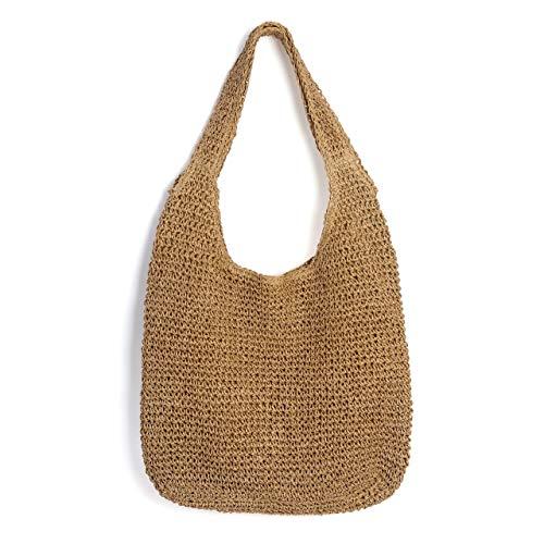 Ayliss Women Straw Woven Summer Beach Bag Tote Shoulder Handmade Weaving Handbag (Khaki #1)