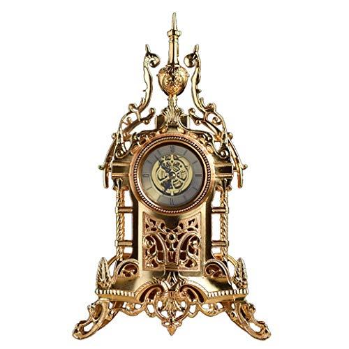 Yeeseu Reloj de sobremesa familia americana relojes del reloj de tabla Mantla antiguo, metal silencioso reloj de escritorio decorativa for sala de estar conveniente for la oficina salón dormitorio (co
