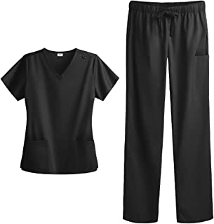 Women's Stretch Scrub Set - Includes Medical Uniform Top and Pant (XS-3X, 8 Colors) by Strictly Scrubs